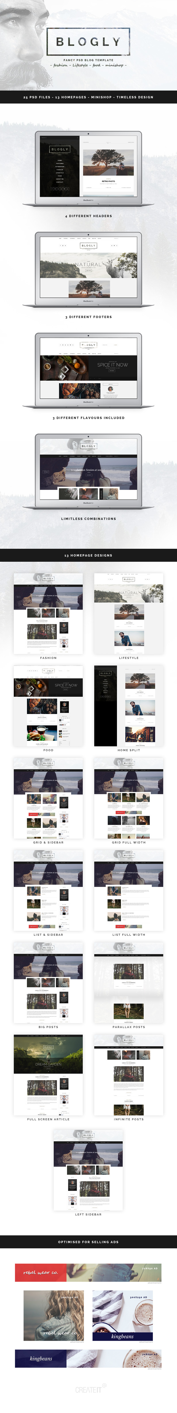 Blogly - Fancy PSD Blog Template