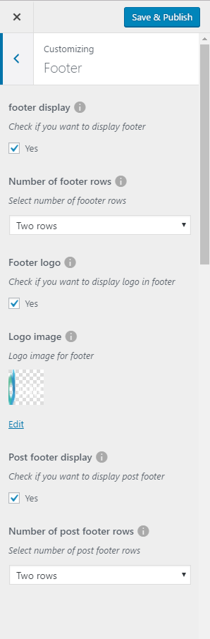 Footer settings