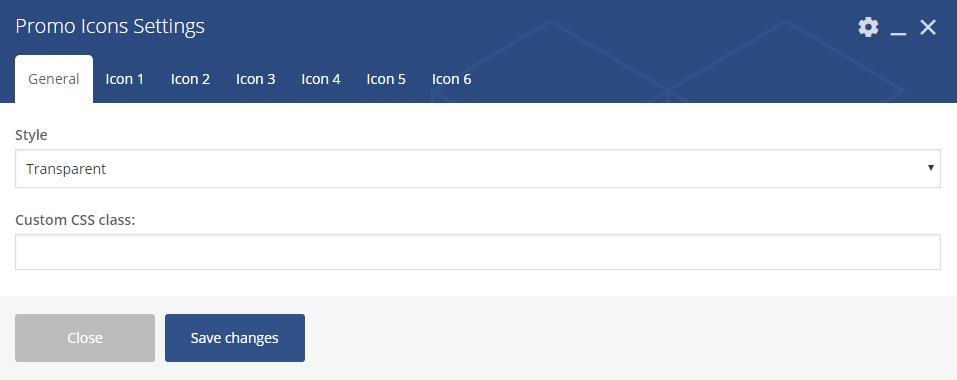Promo Icons settings