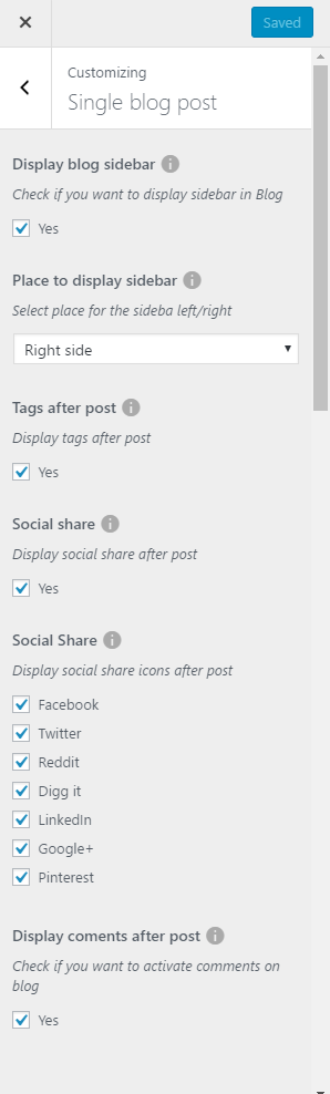 Single blog post settings