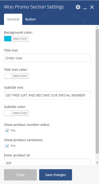Woo Promo Section Settings